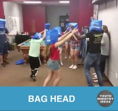 youth ministry ideas and games students try to pull the bag off each others heads while protecting their own youth