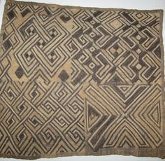 "Vintage African Raffia Kuba Cloth Square/Kasai Velvet/Estate Purchase/18"" x 20"""