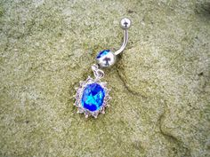 belly jewelry blue bling belly button ring pericing belly ring