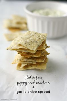 Simple and delicious garlic dip with gluten free poppy seed crackers. This simple snack is gluten free, vegan, and nut free. Perfect for a party! Vegan Snacks, Easy Snacks, Yummy Snacks, Healthy Snacks, Seed Crackers Recipe, Gluten Free Crackers, Cracker Recipe, Gluten Free Recipes, Vegan Recipes