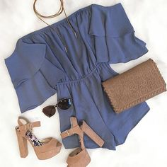 on trend: off the shoulder Comment your fav item in our #ootd featuring our Enchantress Off Shoulder Romper In Blue ⎮