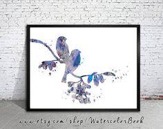 Birds Love Watercolor Print, silhouette, Archival Fine Art Print, Home Decor, animal watercolor, watercolor painting, bird art, art print