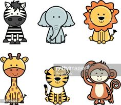 Set of isolated cute vector icons of jungle animals including zebra, elephant, lion, giraffe, tiger and monkey. Jungle Drawing, Zebra Drawing, Lion Drawing, Easy Drawings For Kids, Drawing For Kids, Cute Easy Animal Drawings, Easy Animals, Animals For Kids, Monkey Drawing Easy