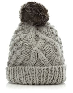 Chunky Cable Fur Trim Beanie | Grey | Accessorize