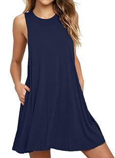 27213de286 Iandroiy Women's Tunic Swing Shirt Dress Sleeveless Beach... https://www
