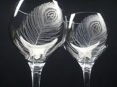 Peacock Feathers . 2 Red Wine Glasses . Hand Engraved Crystal Glass via Etsy