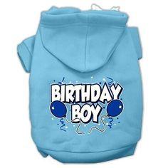 Birthday Boy Screen Print Pet Hoodies Baby Blue Size XXL (18)