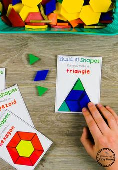 Looking for awesome shapes worksheets and games to use in your classroom? This and Shapes - Kindergarten Math Unit is filled with hands-on activities and no-prep worksheets to help children learn about and use shapes. Kindergarten Worksheets, Math Classroom, Fun Math, Math Games, Teaching Math, Math Activities, Preschool Activities, Shapes For Kindergarten, Montessori Kindergarten