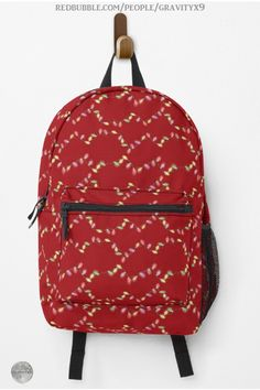 * Festive Christmas Lights on Red Backpack by #Gravityx9 | Redbubble * Internal laptop pocket, external mesh pocket, and adjustable padded straps * Spacious interior for your work stuff, your gym stuff, your travel stuff, whatever * Holiday Christmas Backpack * high school back to school supplies * back to school shopping * backpacks for school * High school Christmas list * school supplies * #Backtoschool #backpack #schoolbag #schoolshopping #ilovexmas #christmasshopping #christmasbag 1020