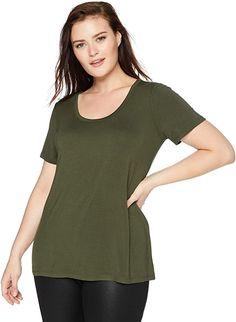 Figurschmeichler  Eine Amazon-Marke – Dieses weiche Jersey-T-Shirt hat einen Rundhalsausschnitt und eine entspannte Passform für einfache, tägliche Kleidung.. Dieses weiche Jersey-T-Shirt hat einen Rundhalsausschnitt und eine lockere Passform für eine einfache Alltags-Layerung. Luxus-Jersey – perfekt reichhaltiger, glatter Stoff, der wunderschön drapiert. Kragenform: scoop-neck Kurzarm 95% Viskose, 5% Elasthan Plus Size Jersey Short-sleeve Scoop Neck Shirt Pflegehinweis: Maschinenwäsche… Womens Fashion Casual Summer, Winter Outfits Women, Fall Fashion Outfits, Women's Fashion Dresses, Pretty Outfits, Beautiful Outfits, Cool Outfits, Casual Outfits, Dress Clothes For Women