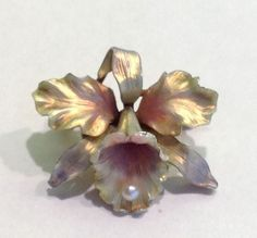 Art Nouveau 14K Gold Whiteside + Blank Iridescent Enamel Pearl Orchid Brooch Pin | Jewelry & Watches, Vintage & Antique Jewelry, Fine | eBay!