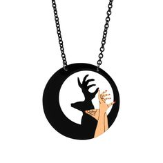 Oh deer! What a darling decoration! This hand enameled Hello Deerie Shadow Play Necklace from N2 is simply divine! How can you be afraid of the dark with this D