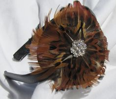 Brown Round Feather Facinator Headband Hair Band by shirkdesigns (Accessories, Hair, Headband, headband, hairband, hair band, bow hair band, boutique hair band, feather headband, feather facinator, fancy headband, feather hairband, elegant headband, facinator, round feather, brown feathers)