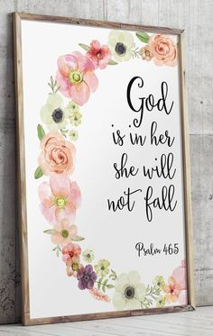 God is in her she will not fall | Psalm 46:5 | Printable wall decor Bible verses