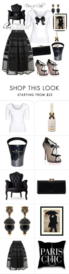 """""""outfit 1"""" by kercey ❤ liked on Polyvore featuring Filippa K, MoÃ«t & Chandon, Christian Louboutin, Moooi, Ted Baker, Gucci, Amanti Art and Temperley London"""