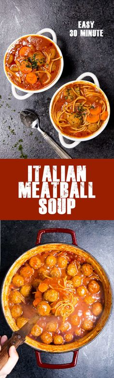 Frugal Food Items - How To Prepare Dinner And Luxuriate In Delightful Meals Without Having Shelling Out A Fortune Easy Italian Meatball Soup Is A Classic Soup Full Of Delicious Flavors. Comfortable, Comforting And A Family Favorite. Easy Italian Meatballs, Italian Meatball Soup, Tasty Meatballs, Turkey Meatballs, Chili Recipes, Soup Recipes, Cooking Recipes, Drink Recipes, Pasta