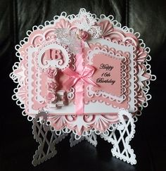 This is another stunning design created by Tina Fitch and cut and assembled by Carol Easton. Just stunning! Pink Crafts, Paper Crafts, Card Crafts, Hobbies And Crafts, Crafts To Make, Pop Out Cards, Happy 16th Birthday, Card Book, Book Stands