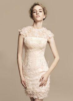 Wedding Dresses - $155.91 - Sheath/Column Scoop Neck Knee-Length Tulle Charmeuse Lace Wedding Dress With Beading Flower(s) (0025059510)