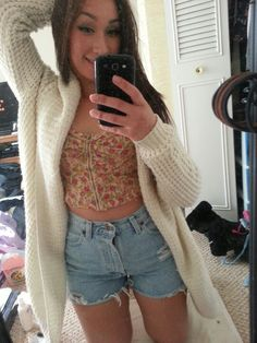 Crop top, diy high waisted shorts & waffle knit sweater