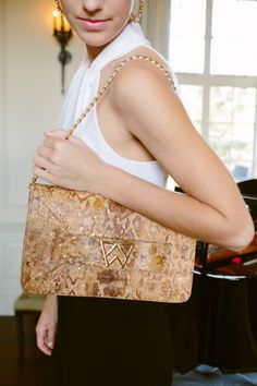 Forever Classy Clutch in Embossed Gold Flake Cork - Lifestyle #KellyWynne #ForeverClassyClutch #GoldFlakeCork