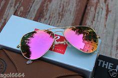 Ray Ban Aviator RB3025 112/4T Pink Lens Matte Frame Unisex 58mm Sunglasses