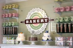 cute little bakery - love the doily & rolling pin logo...adorable! SS