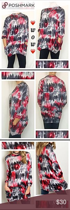 """WOW❣Tie Dye Tunic Top W/Pockets S M L XL Gorgeous relaxed fit tie dye tunic in red, charcoal gray & black.  So easy to wear in a super comfy, stretchy 95% rayon - 5% spandex blend. Higher neckline & 3/4 sleeves & long enough to cover your bootie when wearing your favorite  leggings, jeggings or skinnies!    Small/Medium (Marked Small) Bust 44"""" waist 44"""" length 30""""  Medium/Large (Marked Medium) Bust 45"""" waist 45"""" length 31""""   Large/XL (Marked Large) Bust 46"""" waist 46"""" length 32"""" Tops Tunics"""