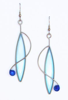 Stainless steel dangle earrings in light blue and cobalt - handmade jewelry