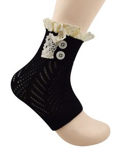"""Spring fever Womens Fashion Short Knitting Lace Socks Leg Warmer Boot Cover Black. MATERIAL & SIZE: Acrylic fibers. Soft and not scratchy. 9.5"""" Long and 11.5"""" around with generous stretch. APPLICATION: The necessary accessory for the winter season when you go outside. LOVELY TREND FOR EVERYDAY WEAR: Fashionable knitted boot cuffs with buttons and lace featuring a cozy cable knit style. CARE: Hand wash with cold water and lay flat to dry. ABOUT BRAND: Spring fever, American registered…"""