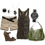 Leoperd tank, tan shorts, brown shoes and jewerly with a olive green bag ;)