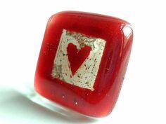 "Anillo vidrio ""love"". Ajustable. San Valentín von BGLASSbcn auf DaWanda.com"
