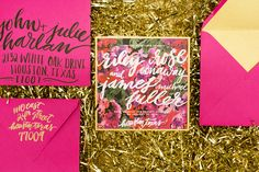 Floral Pink Gold Wedding Announcements Papellerie2 Riley + Jimmys Bold Floral Wedding Announcements