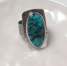 Turquoise Ring, Sterling Silver, Sterling Ring,  Oval Ring, Handmade, OOAK, bezel-set ring, cabochon ring, artisan ring, semi-precious stone...