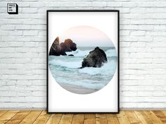 #Beach #photography, Sea, Circle Photo Print, Nature Photography, Minimal decor, Forest Print, Printable Wall Art, Landscape print, Digital by PrintmyInk on Etsy