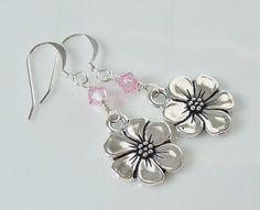 Swarovski Crystal Beaded Apple Blossom Charm Drop Earrings