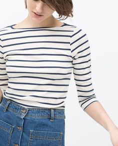 ORGANIC COTTON STRIPED T-SHIRT-Long Sleeve-T-shirts-WOMAN | ZARA United Kingdom