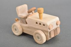 Handmade eco friendly large light wooden toy car
