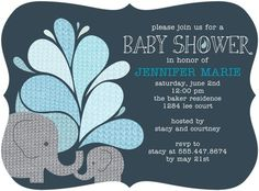 Elephant Applique - Baby Shower Invitations - Allie Munroe - Slate - Gray : Front