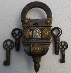 Antique Vintage Reproduct Tricky Four keys Operated Unique handmade iron padlock