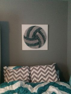 volleyball nail and string art completed tessa - Volleyball Bedroom Decor