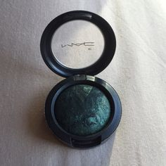 Mac LE mineralized eyeshadow in Dark Indulgence Worn x1 (dry), swatched x3--beautiful limited edition dark green mineralized eye shadow in Dark Indulgence; box included MAC Cosmetics Makeup Eyeshadow