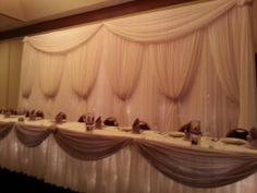 Wedding reception, head table backdrop by Candlelight Occasions