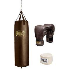 Kickboxing-Boxing Set 100Lb Heavy Bag Gloves Hand Wraps Brown #BoxingSet