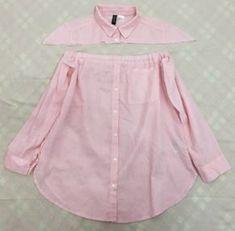 DIY Men's Shirt to Peasant Blouse Tutorial Shirt Dress Diy, Diy Shirt, Diy Dress, Diy Clothes Refashion, Shirt Refashion, Diy Fashion, Ideias Fashion, Blouse Tutorial, Remake Clothes