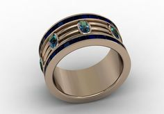 14k Rose Gold Engagement or Wedding Band with by LUXARTJEWELRY, $1450.00