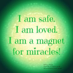 I am safe. I am loved. I am a magnet for miracles thank you universe ♥️😘🙏🏼 Daily Positive Affirmations, Wealth Affirmations, Morning Affirmations, Law Of Attraction Affirmations, Positive Thoughts, Positive Quotes, Healing Affirmations, Positive Life, Mantra