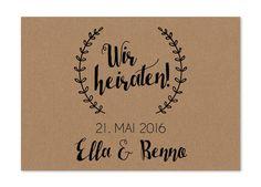 Einladungskarten - Hochzeitseinladung | Wir heiraten! - ein Designerstück von…