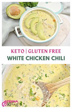 Keto White Chicken Chili | Rich, creamy, one-pot Keto white chicken chili is the perfect comfort food to warm you up on a chilly day! Satisfying, delicious, and so easy to make. #keto #ketochickendinner #ketodinner Free Keto Recipes, Healthy Soup Recipes, Chili Recipes, Real Food Recipes, Savoury Recipes, Diet Dinner Recipes, Diet Recipes, Creamy Potato Soup, Keto Side Dishes