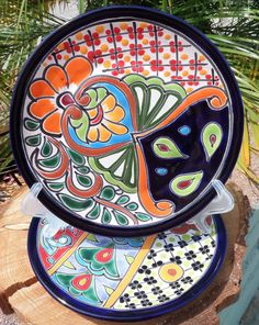 """2 Talavera Mexican Pottery Lunch Salad Plates Plate 8"""" Hand Painted"""