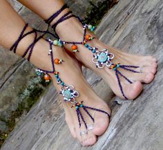 HIPPIE bohemian BAREFOOT SANDALS flowers crochet hand made unique.  I LOVE this Shop! GPYoga on Etsy http://www.etsy.com/shop/GPyoga?ref=seller_info